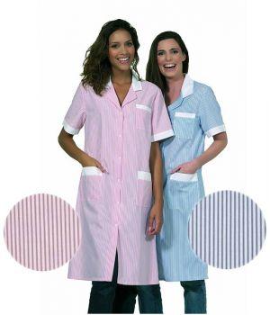 Blouse Femme Manches Courtes, Boutons Pression, Rayures Blanc et Couleur