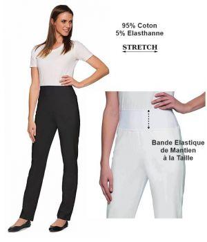 Pantalon Femme Coton Stretch, Bande Elastique de Maintien à la Taille