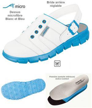 Sabots de Travail Confort, Look Jeune, Blanc et Bleu, Dessus Microfibre