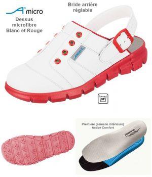 Sabots de Travail Confort, Look Jeune, Blanc et Rouge, Dessus Microfibre