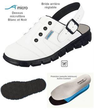 Sabots de Travail Confort, Look Jeune, Blanc et Noir, Dessus Microfibre
