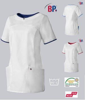 Blouse Médicale Femme BP®, Col Arrondi, Blanc et Touches de Couleur