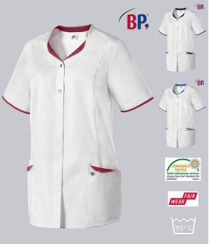 Blouse Médicale Femme BP®, Encolure Arrondie, Blanc et Touches de Couleur
