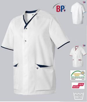 Blouse Médicale Femme et Homme BP®, Encolure Arrondie, Blanc et Touches de Couleur