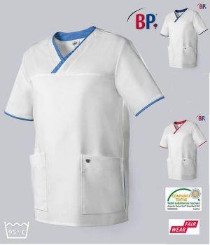 Blouse Médicale Femme et Homme BP®, Encolure en V, Blanc et Touches de Couleur