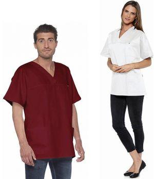 Tunique Femme et Homme, Col en V, Manches Courtes, Polyester Coton