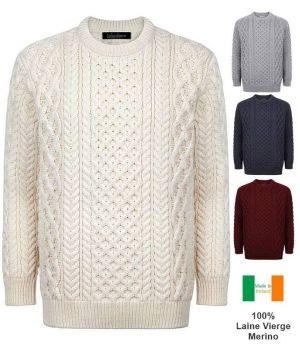 Magnifique Pull Irlandais Femme et Homme, Col rond, 100% Laine Vierge Merinos