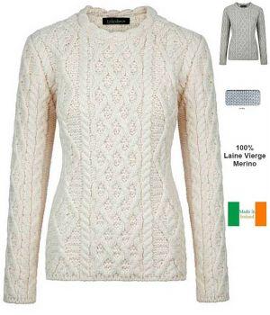 Magnifique Pull Irlandais Femme Point Torsade, 100% Laine Vierge Merinos
