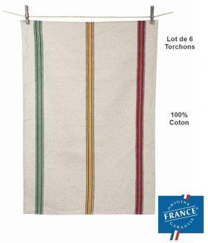 Torchons de Cuisine Traditionnel 3 bandes, Fabrication Française, Lin et Coton, Le pack de 6