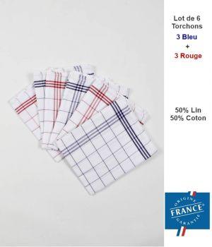 Torchons à Carreaux, 50% Lin, 50% Coton, Paquet de 6
