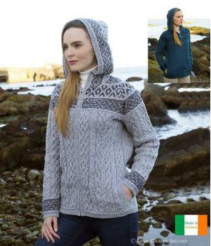 Magnifique Veste zippée Fairisle Irlandaise Femme, 100% Laine Mérinos