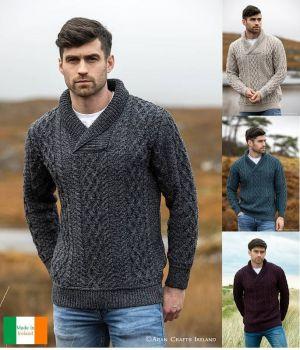 Pull Irlandais pour Homme, Col châle, 100% Laine Mérinos