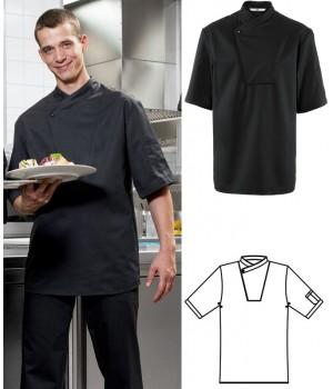 Veste de cuisine, Noir, manches courtes, Boutons pression