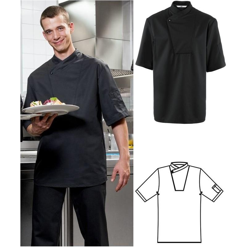 Veste de cuisinier noire manche courte
