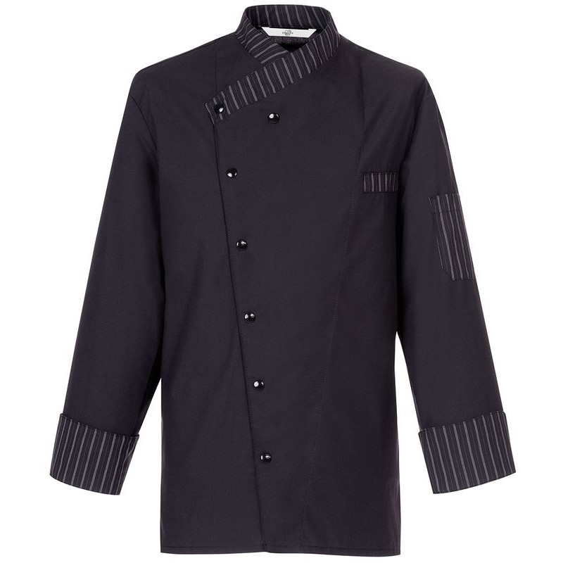 Veste de cuisine boulanger taille m noir et rayures noir for Veste de cuisine col mof