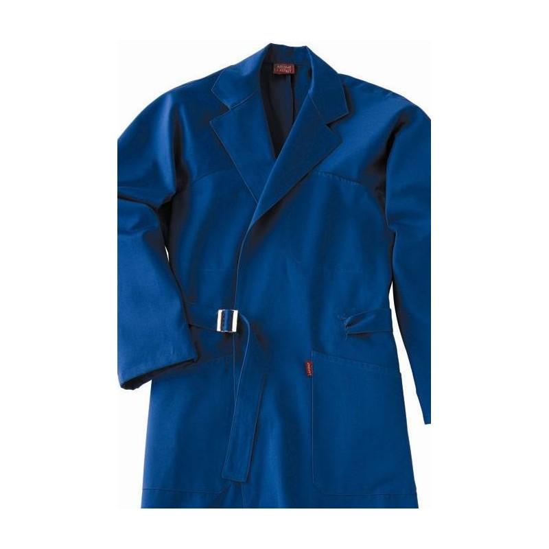 blouse de travail bleue coton manche longue kimono a lafont. Black Bedroom Furniture Sets. Home Design Ideas