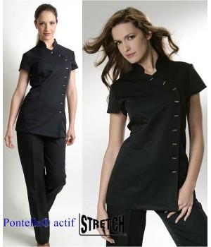 Tunique Noire Femme Manche Courte, Entretien facile, 100% Polyester