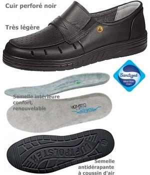 Chaussures de travail, Dessus cuir perforé et doublure cuir, Semelle coussin d'air, Noir