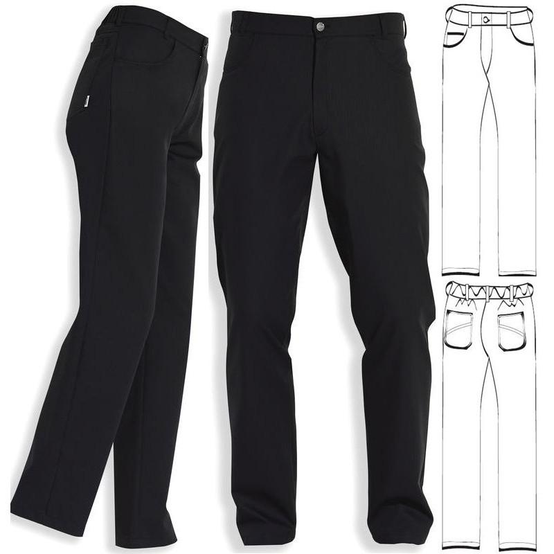 Pantalon noir mixte coupe jean polyester coton noir for Pantalon de cuisine homme