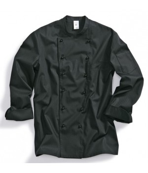 Veste de cuisine chef, peut bouillir à 95 °C, Noire, mélange résistant
