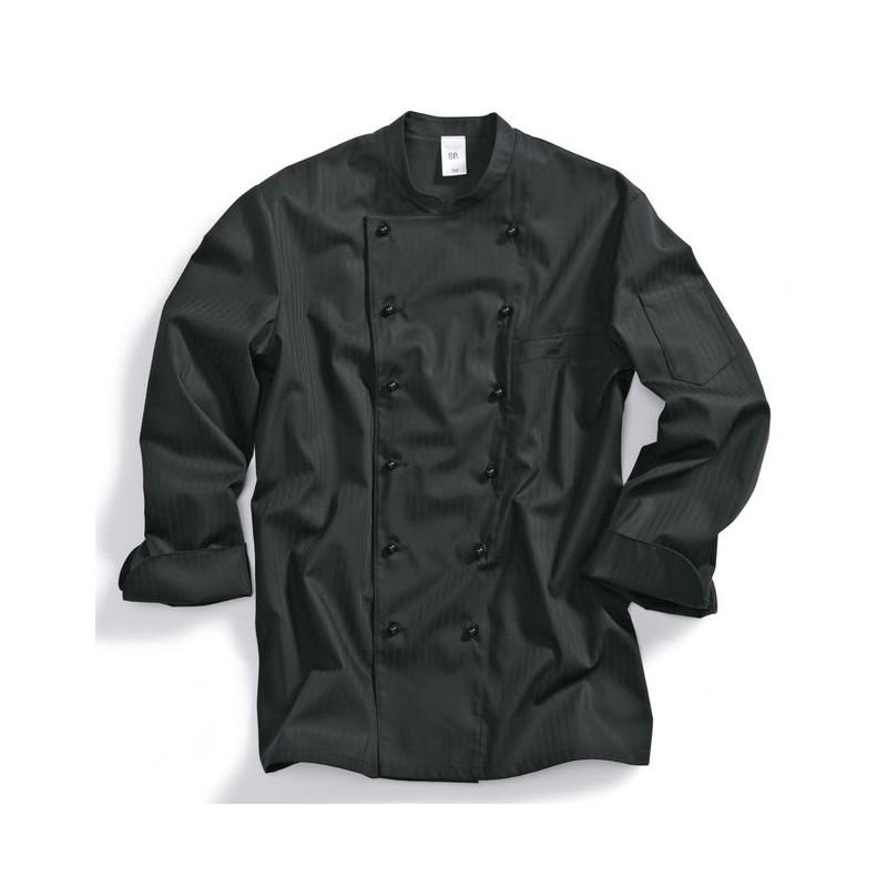veste de cuisine chef peut bouillir 95 c noire m lange r sistant. Black Bedroom Furniture Sets. Home Design Ideas