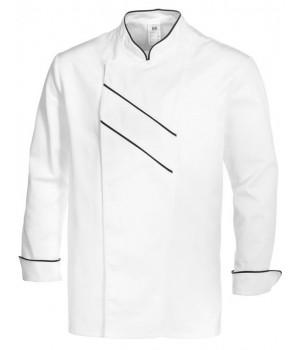 Veste de Cuisine Grand Chef,  Blanc avec Passepoil et rayures Noir