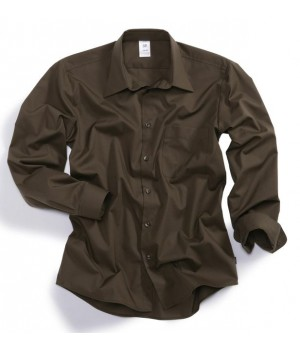 Chemise chocolat homme manches longues,Stretch Taille M.