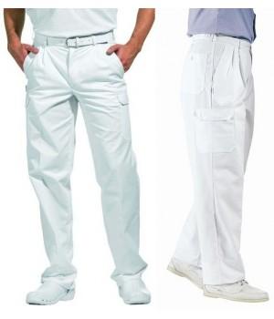 Pantalon homme ou Femme Cargo, blanc, confort, poches côtés, arrière et cuisse