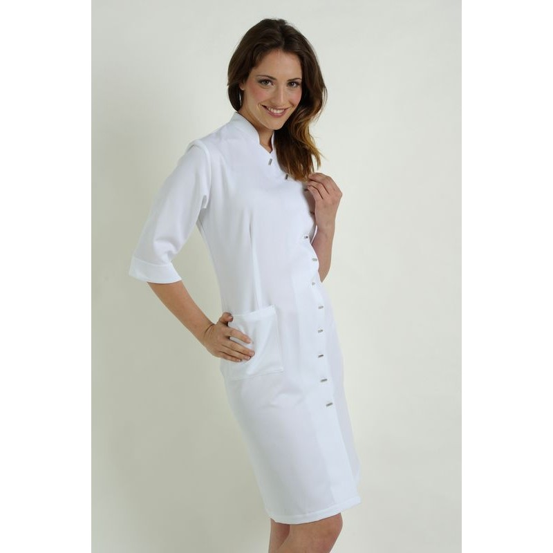 93e536afb7e ... femme Polyester Blanc · Blouse robe professionnelle Blanc ...