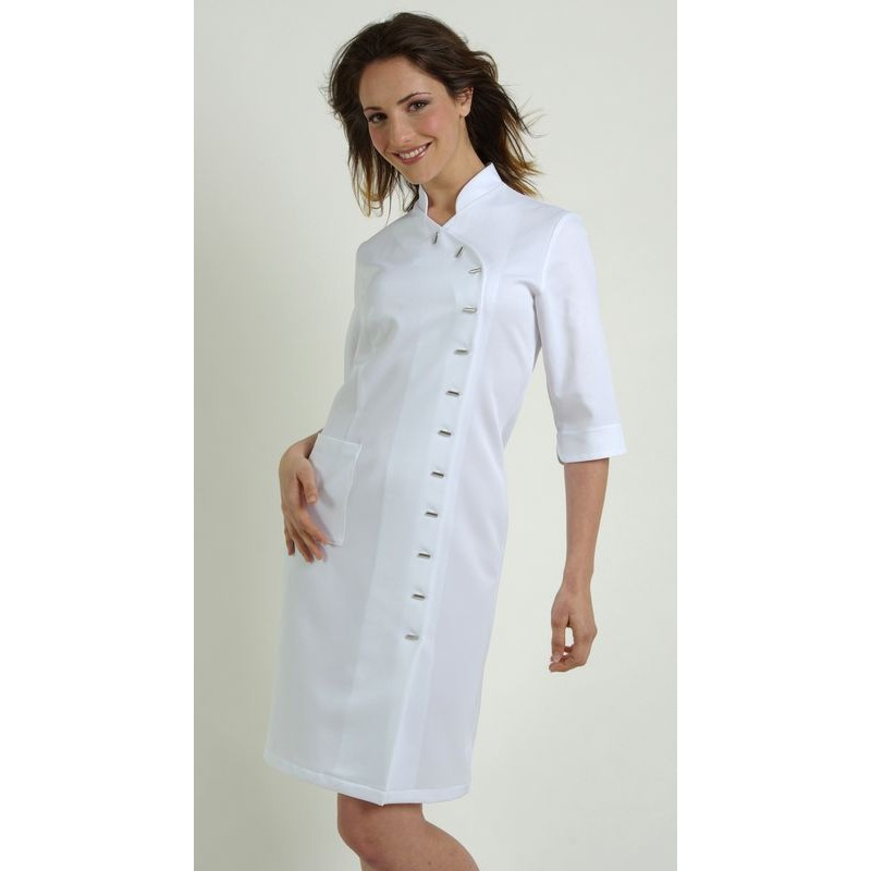 f24568f673f ... femme Polyester Blanc · Blouse robe professionnelle Blanc · Robe manche  3 4 polyester Blanc ...