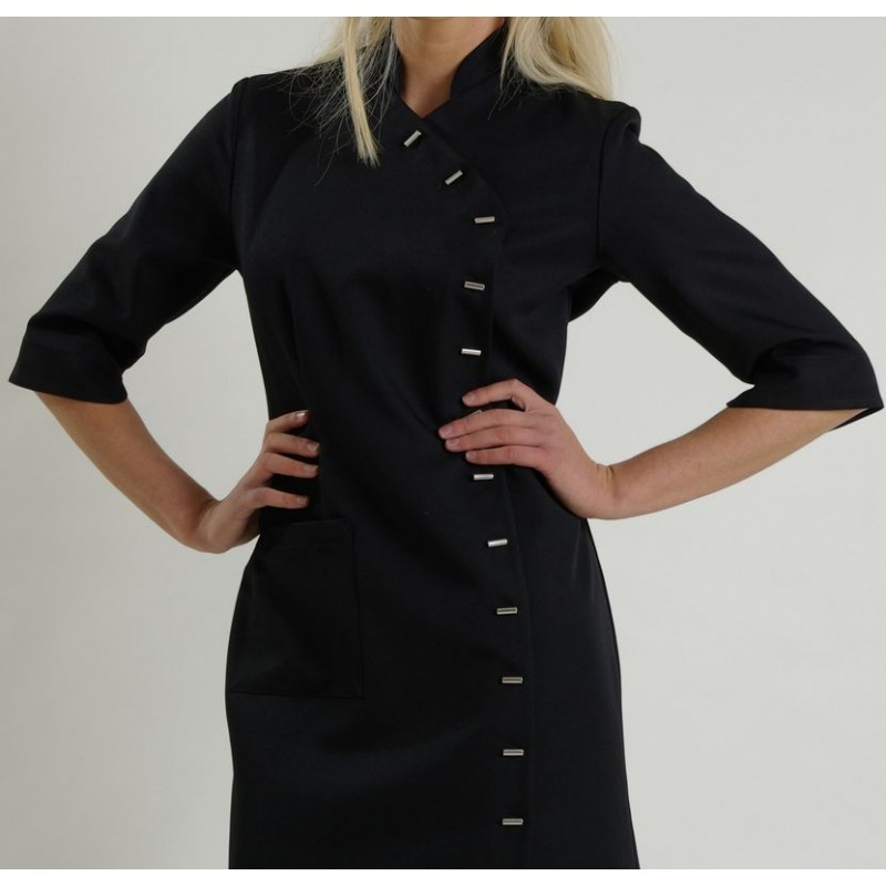 pas mal 201e6 5d5a0 Blouse robe femme, noire, manches 3/4, Look Asie, Polyester
