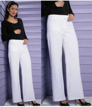 Pantalon blanc, élégant en 100% Polyester Toray.