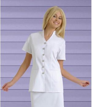 Tunique femme, Coupe mode, 1 poche latérale, Blanc