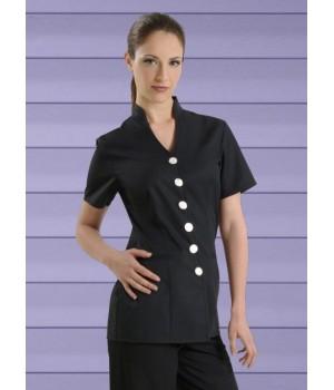Tunique femme, Coupe mode, 1 poche latérale, Noire