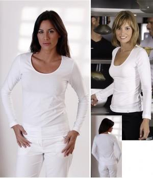T-shirt blanc, Manches longues, Col rond danseuse, Cintré, Coton Lycra