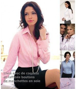 Chemisier manches longues Rose, Taille 34, coton