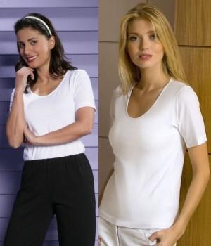T-shirt blanc, Manches courtes, Col rond danseuse, Cintré, Coton Lycra