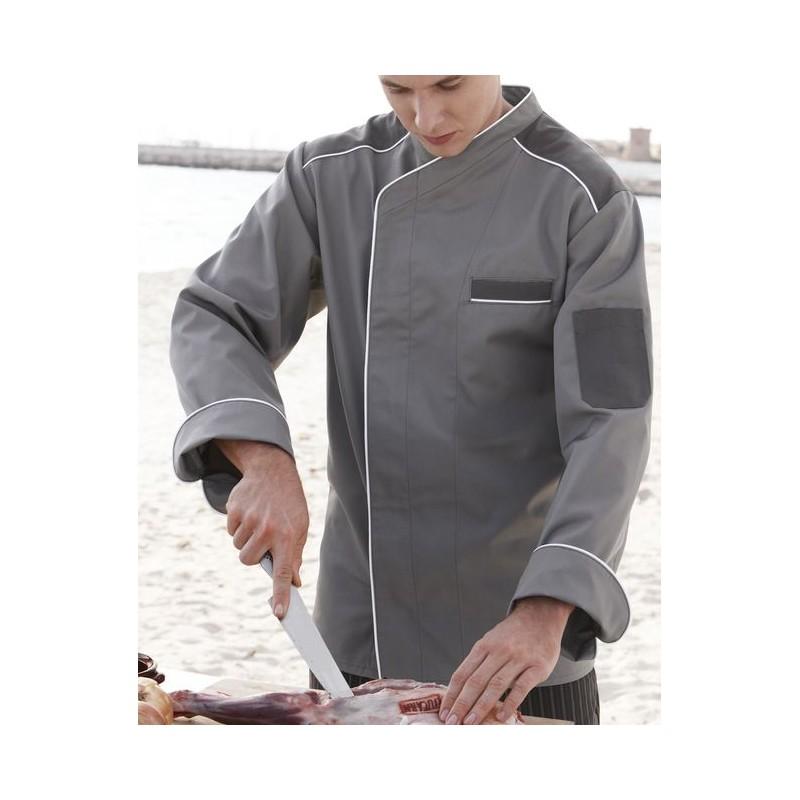 Veste de cuisine col officier couleur gris bouton pression Veste de cuisine orange