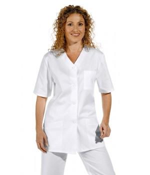 Tunique blanche femme manches 1/2, Col en V, peut bouillir, coton