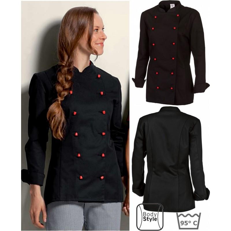 veste de cuisine femme noire manches longues peut bouillir. Black Bedroom Furniture Sets. Home Design Ideas