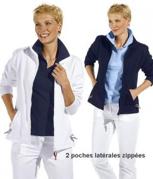 Veste sweat pour dames, manches longues,2 poches latérales zippées, Col montant, Fermeture à glissière.