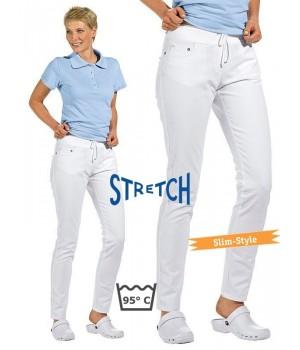 Pantalon blanc femme Coupe 5 poches Jambe étroite Slim-Style