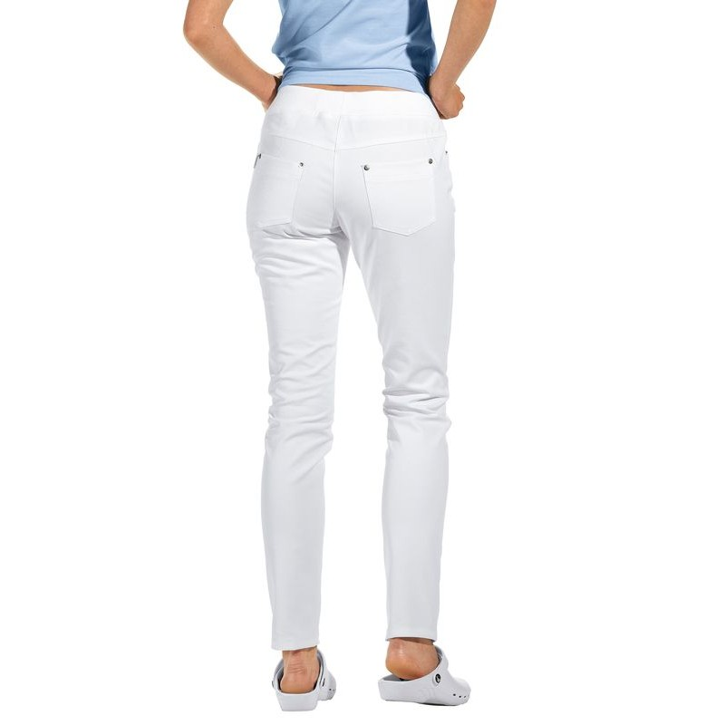 pantalon blanc femme coupe 5 poches jambe troite slim style. Black Bedroom Furniture Sets. Home Design Ideas