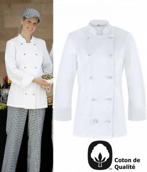 Veste de cuisine Femme, légèrement cintrée, Oeilllets d'aération, coton, peut bouillir