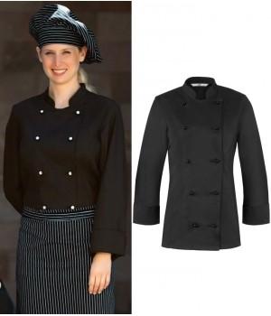 Veste de cuisine Femme, légèrement cintrée, manches longues,Col officier
