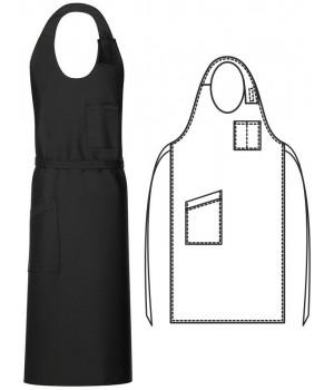 Tablier sommelier, noir, 77 x 100 cm, 1 poche poitrine, 1 poche côté, Peut bouillir