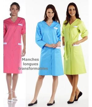 Blouse femme Manches longues avec patte de retroussage, Col V, 3 poches, Boutons pression métal