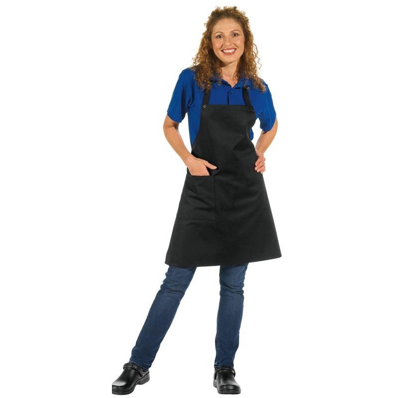 Tablier bavette 1 poche bretelles r glables longueur 75 cm for Tablier de cuisine noir