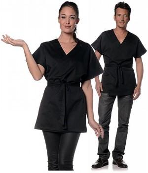 Kimono mixte femme ou homme, noir, manche courte, Encolure V arrondi, Ceinture