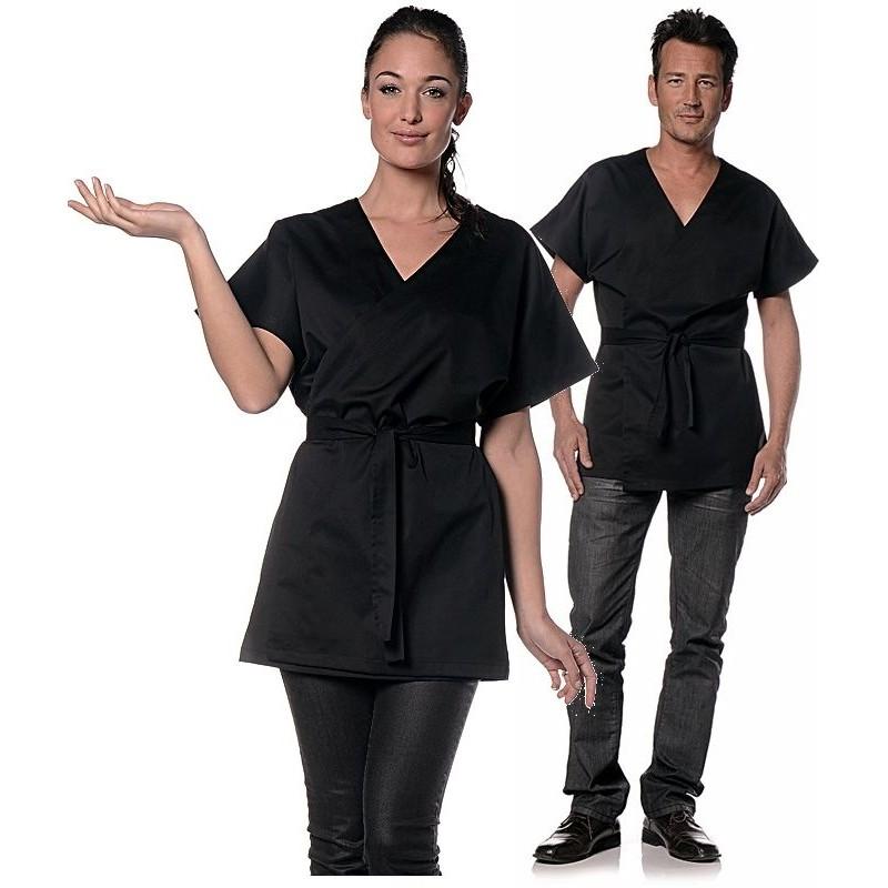 kimono mixte femme ou homme noir manches courtes col v. Black Bedroom Furniture Sets. Home Design Ideas